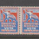 1950 Republic Register Vote GOP Republican Party Westchester MNH GUM- 3c