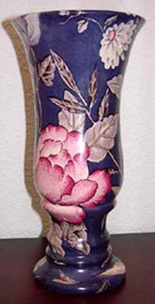 Pink Floral Blue Vase