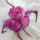 Three Hot Pink  Roses Hair Clip / Brooch Combination