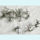 100 Pcs Silver Color Flexible Three Leaves  Bead Caps