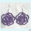 Wood Purple Roses Earrings Free Shipping