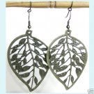 Stamping  Antiqued Brass  Leaf   Earrings free Shipping