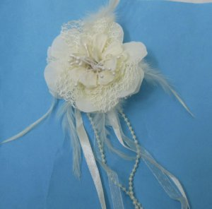 Ivory Flower Brooch With Feather & Ribbon Free Shipping