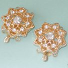 3 Strands Gold Plated Rhinestone Flower Box Clasp  2 Pieces Free Shipping