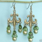 Dangling Antique Bronze Chandelier Green Earrings Free Shipping