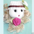 Lace Mini Dolls With Pink Rose Appliques  2 Pieces Free Shipping