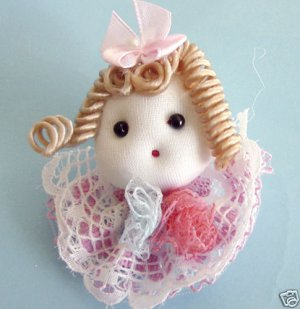 Lace Mini Dolls With Pink Bow Appliques  Lot of 2 piece free Shipping