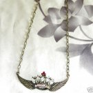 Antiqued Bronze Angel Crown Pendant Necklace Free Shipping