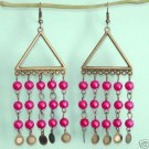 Dangling Brass Triangle Chandelier Pink Earrings Free Shipping