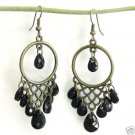 Dangling Antiqued Bronze Lace Chandelier Black Earrings Free Shipping