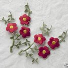 2 Pieces of Red Cherry Blossom Iron On Patches Free shipping