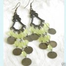 Dangling Antiqued  Chandelier Long Earrings With Green Free Shipping