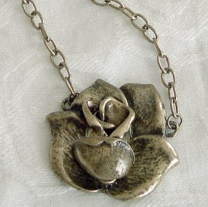 Antiqued Brass Rose Pendant  Long Necklace Free Shipping