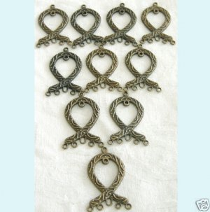 10 Pieces of Antique Bronze Ribbon Chandelier Earring Free Shipping