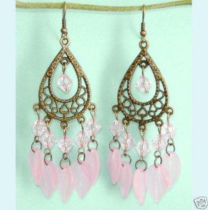 Dangling Antiqued Bronze Pear Chandelier  Pink Earrings Free Shipping