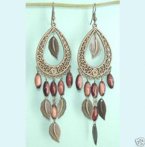 Antiqued Bronze Teardrop Chandelier Brown  Long Earring Free Shipping