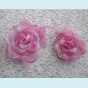 One Set of  Pink Silk Rose Hair Clip And Brooch Free Shipping