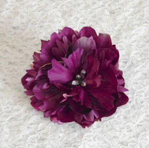 Plum Peony Hair Clip 3.5 Inches Free Shipping