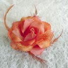 Pumpkin Orange Rose Hair Clip /Brooch With Feathers Free Shipping