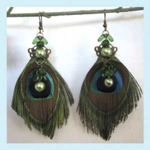 Handcrafted Peacock Feather Green Beads Earrings Free Shipping