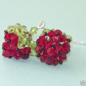 Hand Made Crystal Strawberry Earring Free Shipping