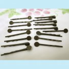20 Pieces of Antiqued Brass Bobby Pins with 8mm Pad Free Shipping