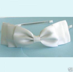 Three Layered Ivory Satin Ribbon Bows Headband Free Shipping
