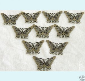 10 Pcs of  Antique Brass Butterfly Chandelier Earrings Free Shipping.