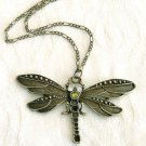 Antiqued Brass Dragonfly Pendant  Long Necklace Free Shipped
