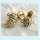 2  Pcs Gold Tone Gree Rhinestone  Ball Shaped Clasps