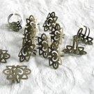 10  Blank Adjustable Antique Bronze Filigree Rings Free Shipping