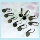 10 Pcs Antiqued Brass Lever-back Ear-wires With 8mm Pad Free Shipping
