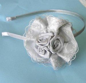 Gray Lace Ribbon Roses Headband - Wedding Bridal  Free Shipping