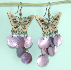 Dangling Butterfly Earrings With Purple Sea Shell Charm Free Shipping