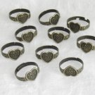 10 Pieces of Heart Shaped  Bronze Adjustable Rings Free Shipping