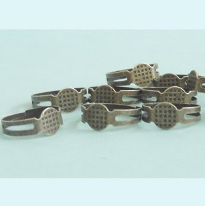 Antique Bronze Blank Adjustable Ring  8mm pad 20 Pieces Free Shipping