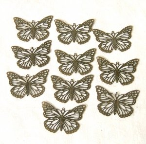 10 Pcs of Antiqued Bronze Stamping Butterfly Charms Free Shipping