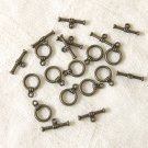 10 Set of Antiqued Bronze Finish  Ring Toggle Clasps Free Shipping