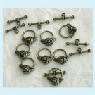 6 Set of Antiqued Bronze Rose Toggle Clasps Free Shipping