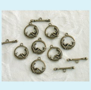 6 Set of Antiqued Bronze Mermaid Toggle Clasps Free Shipping