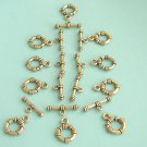 6 Set of Antique Gold Plated Ring Toggle Clasps Free Shipping