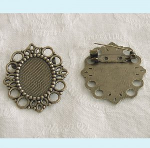 4 Pieces of Antiqued Brass Oval Brooch Base Setting Free Shipping