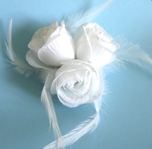 Three White Roses Hair Clip / Brooch Combination Free Shipping