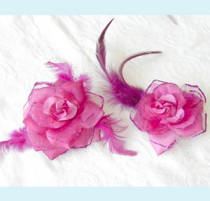 One Set of Hot Pink Silk Rose Hair Clip And Brooch Free Shipping