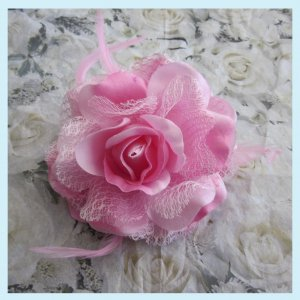 Pink Lace Rose Hair Clip /Brooch With Feathers free Shipping