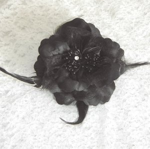 Black Flower Hair Clip / Brooch Combination