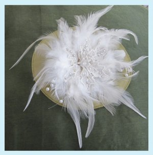 Vintage Style Bridal Feather Flower Hair Clip Free Shipping