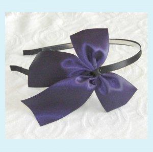 Purple Satin Bow Headband - Wedding Bridal
