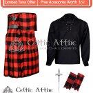 KILT - 40 Size - 8 Yard KILT RED BLACK ROB ROY Tartan with Ghillie Shirt - Kilt Pin -Flashes