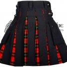 46 - Size- Scottish Hybrid UTILITY KILTS for Men Black Cotton Wallace Tartan Cargo Pockets Kilt